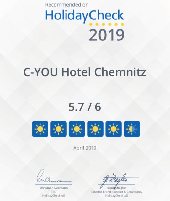 Bild C-YOU Hotel Chemnitz Holiday Check Auszeichnung
